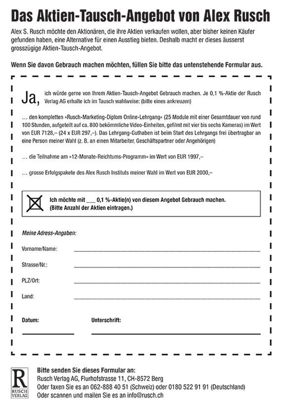 Anmeldeformular Aktientausch 2020